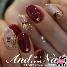 Holiday Nail Designs, Red Nail Designs, Beautiful Nail Designs, New Year's Nails, Red Nails, Hair And Nails, Korean Nail Art, Korean Nails, Feet Nail Design