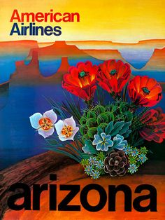 A beautiful and colorful abstract of the Grand Canyon in Arizona - American Airlines Travel Poster.