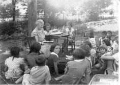 Miss Bessie Parker's story hour at the Dover Public Library, ca. 1940.