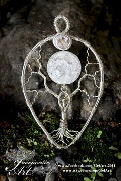 Tree of Life  Cracked Clear Quartz Sphere Moon Goddess by GelArt