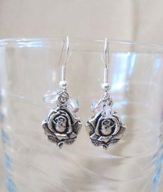 Handmade Silver Roses & Pink Crystals Dangle by Pizzelwaddels, $14.97
