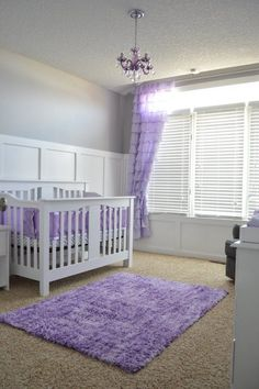 A soft, calming lavender nursery for Baby Girl Geysen. Yellow Nursery, Girl Nursery Purple, Purple Baby Rooms, Baby Decor, Lavender Nursery Decor, Nursery Room, Nursery Ideas, Bedroom, Girl Room