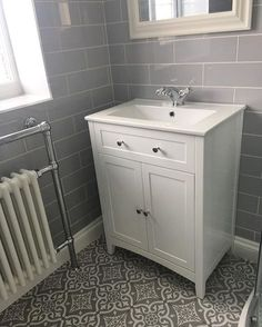 Dorset Feature Grey Wall & Floor Tile is part of Cloakroom toilet The Victorian Collection is based on traditional tile designs from the Victorian era With a twist of modern and traditi - Downstairs Cloakroom, Loft Bathroom, Downstairs Toilet, Upstairs Bathrooms, Grey Bathrooms, Simple Bathroom, Bathroom Wall, Bathroom Ideas, Cloakroom Ideas
