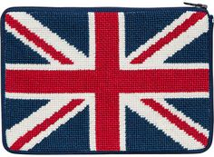 Alice Peterson Cosmetic Purse - British Flag - Needlepoint Kit. Stitch & Zip Preassembled Cosmetic cases are available in several designs, such as floral, nauti
