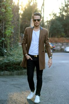 fall is almost here // menswear, mens style, fashion, mens hairstyle, topcoat, tshirt, denim, sneakers, sunglasses