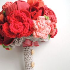 Soft Arrangement: A collection of handmade crocheted blossoms and repurposed fabrics makes this soft wedding bouquet ($225) wonderfully sweet.