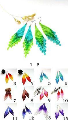 Beaded earrings Dangle earrings Beaded jewelry Long beaded earrings Seed bead earrings Fringe earrings Beadwoven earrings Fashion Beadwork