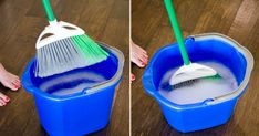We use our brooms to clean which means they can get pretty gross. To clean your broom, soak it in a buck of warm water and dish soap. Let it air dry before you put it away. You should also spray your brooms with disinfectant after each use.