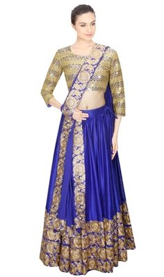 Cream embroidered silk unstitched lehenga with dupatta at Mirraw