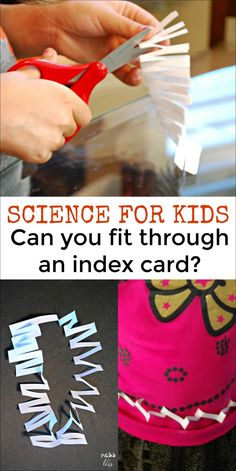 Try this index card science experiment from Mess for Less. Kids will be amazed as they cut a small index card and learn how physical objects can change. #scienceforkids #scienceactivities Kids Learning Activities, Science Activities, Science Experiments Kids, Science For Kids, Index Cards, Learn To Read, Education, Math, Physics