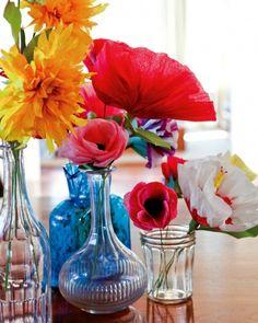 Flores de papel crepom no blog Detalhes Magicos 1