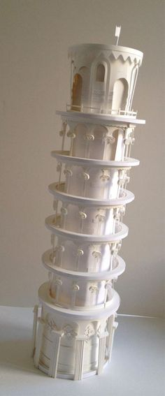 """The Leaning Tower of Pisa' - paper art by Megan Brain, via Paper Mojo blog"