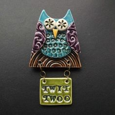 Large Owl Clay Brooch