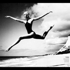 From vogue magazine. Karlie Kloss #dance #blackandwhite #bw #jump #photographyoftheday #photography not bad karlie,not bad (Taken with Instagram)