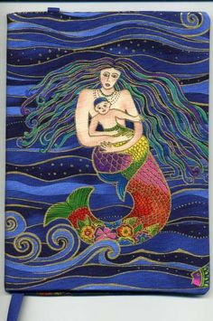 Mermaid Fabric Trade Cover made with Laurel Burch Fabric Real Mermaids, Mermaids And Mermen, Magical Creatures, Sea Creatures, Laurel Burch Fabric, Mermaid Fabric, Mermaid Tale, Merfolk, Art Plastique