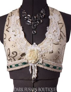 Halter, B or C Cup, Cream and Nude Sparkle, Noir, Bellydance, Dance, Costume, Tribal, Fusion, Vintage Style, Dark Fusion Boutique. $93.00, via Etsy.