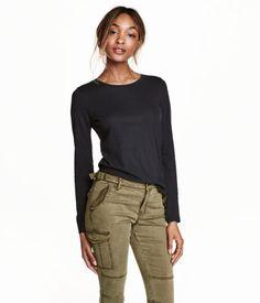 Long-sleeved Jersey Top   Black   Ladies   H&M US