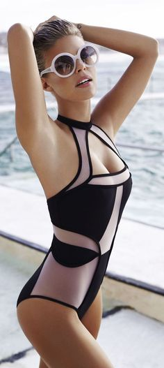 Black Mesh Sexy Halter Cut Out One Piece Bathing Suit S-L