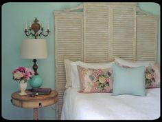 love the shutters as a bedhead