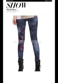 Aliexpress.com : Buy 2015 New Hot Women'S Leggings Girl Flower Print Jean Jeggings Fashion Skinny Joggers Sexy Casual Capri Free Shipping from Reliable leggings with ankle boots suppliers on Hot Genie Authentic Brand Shop | Alibaba Group