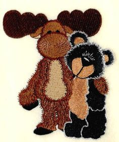 Threadsketches' set Stitchin' up Christmas - Christmas machine embroidery design, moose and bear