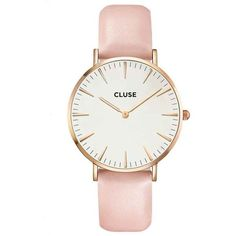 Cluse La Boheme Rose Gold White/Pink Watch ($120) ❤ liked on Polyvore featuring jewelry, watches, women's accessories, boho jewellery, white wrist watch, boho jewelry, water resistant watches and rose gold jewelry