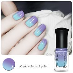 1 Bottle 6ml Thermal Nail Varnish Color Changing Polish Peel Off Polish Dark Blue to Light Blue
