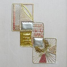 Squares- abstract 1 Gold Embroidery, Embroidery Applique, Embroidery Stitches, Embroidery Patterns, Textile Patterns, Textiles, Bead Sewing, Creative Embroidery, Textile Fiber Art