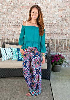 Ruffle My Feathers Off Shoulder Top: Teal