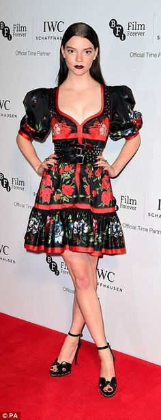 Scarlet sirens:Anya Taylor-Joy (L) andMarissa Montgomery (R) opted for ruby red accents