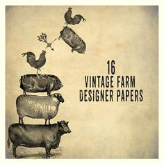 Vintage Farm Background Papers by Le Paper Cafe on @creativemarket