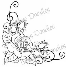 parrot coloring pages for adults Corner Drawing, Coloring Books, Coloring Pages, Page Borders Design, Flower Sketches, Free Stencils, Doodle Drawings, Rose Drawings, Rose Art
