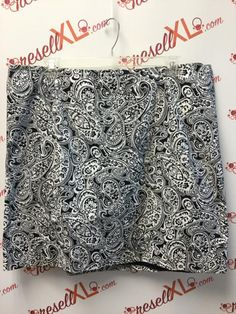573bf90ab0c Talbots Size 22W Navy Paisley Pencil Skirt