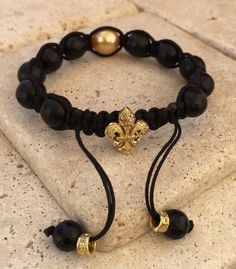Golden Pearl Bracelet & Fleur De Lis by Roman Paul #romanpaul