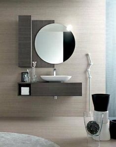 open shelve under the sink drawer and open shelves on the left of a square mirror. Bathroom Basin Cabinet, Small Bathroom Sinks, Modern Bathroom Decor, Modern Bathroom Design, Bathroom Styling, Bathroom Interior Design, Bathroom Furniture, Interior Design Living Room, Washbasin Design