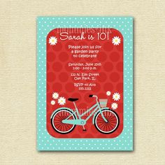 Invitation:  Another supercute bike invitation idea.