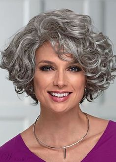 Elegant Women's Mid-Length Wig With Face-Framing Layers Of Loose Curly Synthetic Hair Capless Wigs Grey Curly Hair, Curly Hair Cuts, Short Curly Hair, Wavy Hair, Short Hair Cuts, Curly Hair Styles, 4c Hair, Hairstyles Long Bob, 1950s Hairstyles