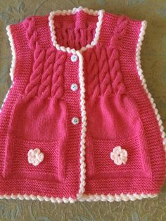 This Pin was discovered by ayf Baby Knitting Patterns, Lace Knitting, Knitting Sweaters, Baby Vest, Free Pattern, Little Girls, Clothes, Fashion, Vest Coat
