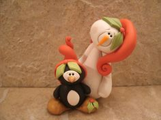 Snowman and Penguin Pair.