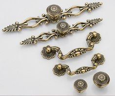 Dresser Knob Pull Drawer Knobs Pulls Handles Antique Bronze Back Plate Cabinet Handles Knobs Door Handle Cupboard Vintage Furniture Hardware...
