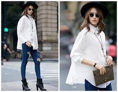 camisa branca de grandes dimensões para as mulheres, caracterizando manga longa, estilo boyfriend, folgada, para a primavera, branco mulheres camisa blusa .-- 1221