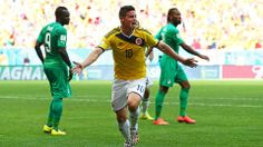James Rodriguez of Colombia celebrates after scoring