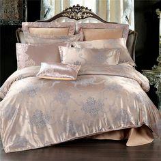 Golden Jacquard Bedding Sets Satin Bed Set 4Pcs Duvet Cover Bedclothes Good quality polyester Bed Sheet Queen Size pillowcase