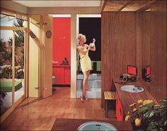 Vintage Space of the week. Italian Interior Design, Mid-century Interior, Mid Century Modern Bathroom, Mid Century Modern Design, Mid Century Decor, Mid Century House, Style At Home, Deco Retro, Vintage Space