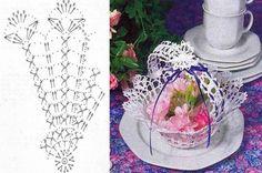 Lace tea-cup by Miss Rose Sister Violet. lace teacup for party decor . Crochet Vase, Diy Crochet Basket, Crochet Basket Pattern, Crochet Motif, Crochet Doilies, Crochet Christmas Decorations, Christmas Crochet Patterns, Crochet Angels, Crochet Stars