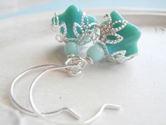 Beaded Flower Earrings Teal Morning Glory by linkeldesigns