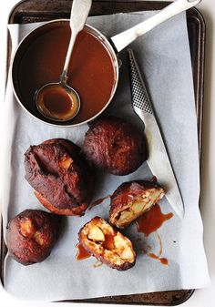 apple fritters with salted caramel