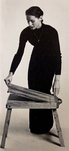 """Folding Chair, Ralph W. Henninger, Fortuna, California 1975. Finalist in the International Chair Design Competition of 1977 From: """"Innovative Furniture in America from 1800 to the present"""" by David A. Hanks 1981"""