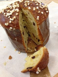 This is our delicious Panettone. They come in two varieties: with Chocolate Chunks and with Raisins and Candied Orange Peel.