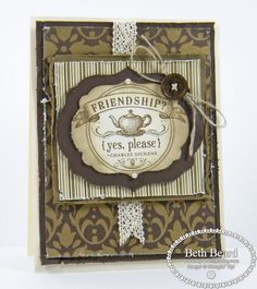 """Stamps: New From My Heart  Paper: Early Espresso, Soft Suede & Very Vanilla card stock, Mocha Morning Specialty  Ink: Early Espresso, Crumb Cake  Tools / Accessories: Labels Collection Framelits, Big Shot, New Naturals Designer (wooden) Buttons, Linen Thread, Pearl Basic Jewels, 5/8"""" Crochet Trim"""